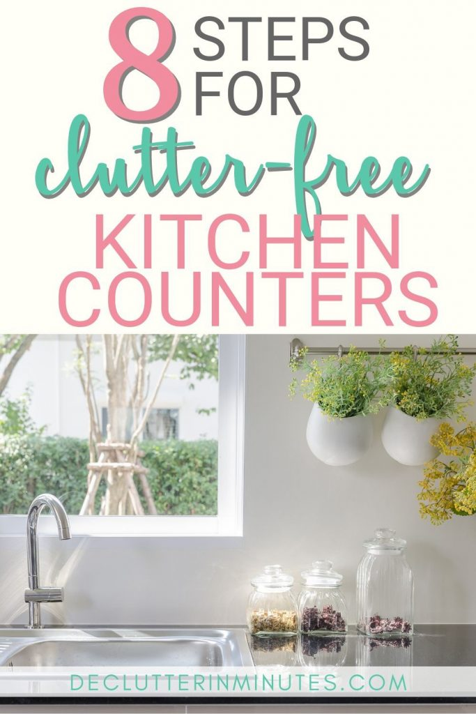 I LOVE cleaned off counters, don't you?! Sometimes it's the simple tips that make the biggest impact. If you are struggling with surface clutter in your home then this tip will help you fix all of that. A family-wide tip that will help everyone keep their things in check so they are not looking for lost items. Kitchen clutter solutions you can use all over your home. #kitchentips #clutter #organize