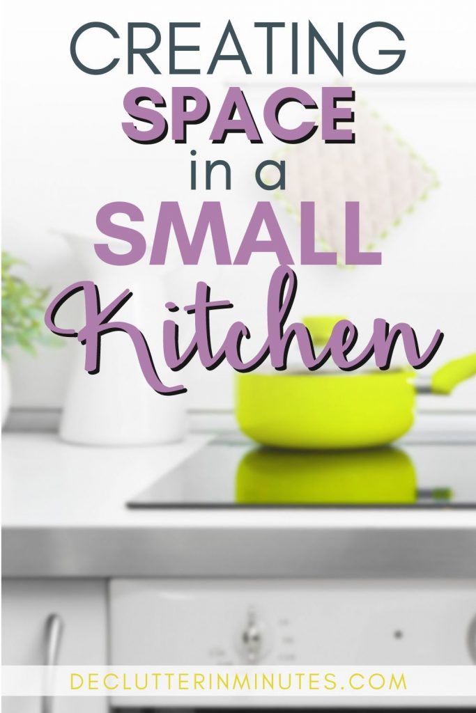 Tiny kitchen? No problem! Use these tips to find a bit more space and love your kitchen again. Simple tips that you can use that will have you loving your kitchen again. #kitchentips #kitchenorganizers #declutter
