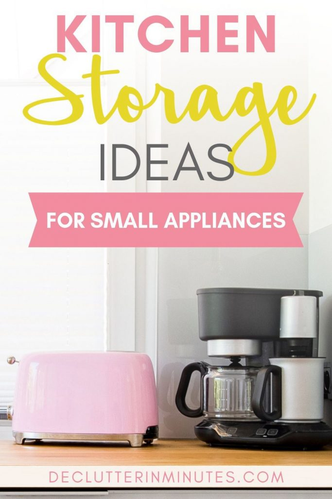 Are appliances taking over your counters? Wish you had more space? Maybe your solution isn't an expensive remodel but instead a reevaluation. Keep out only what you use regularly and store the rest and you will love your kitchen again. #kitchenstorage #clutterfreekitchen #kitchenorganization