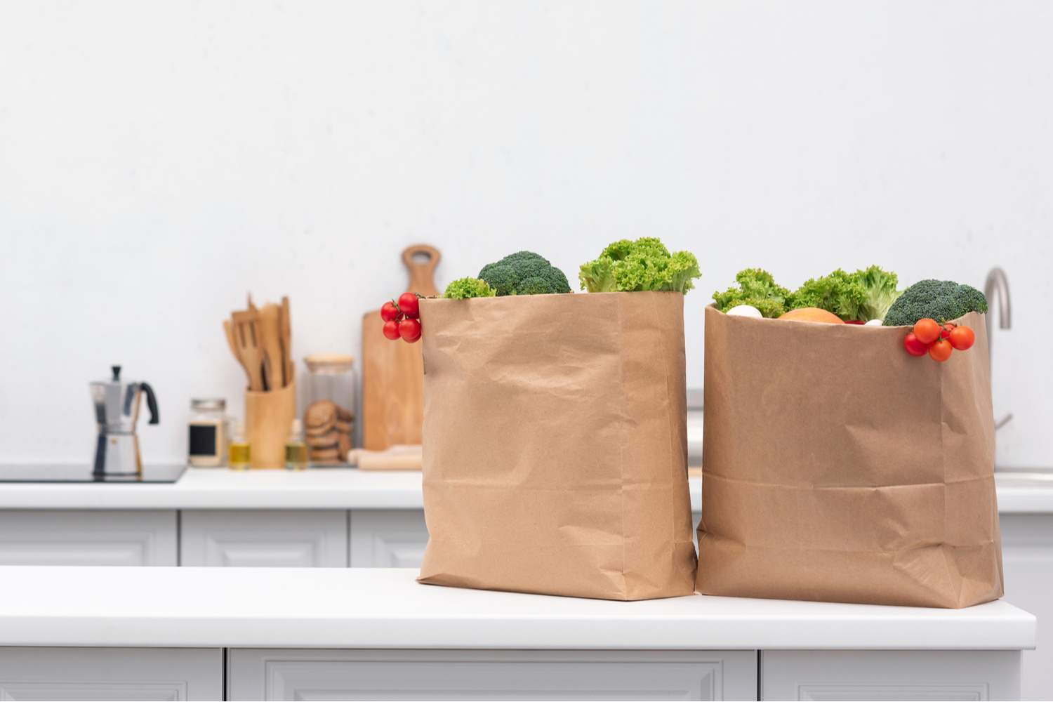 groceries on a kitchen counter. How to hide small appliances and kitchen gadgets