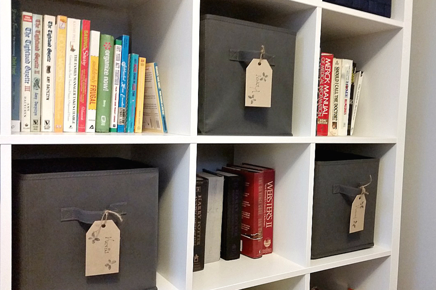 personalized bins for paper clutter that you can use to organize the kitchen
