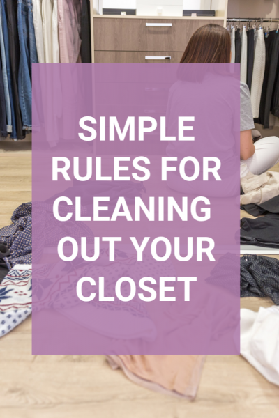 Think there is no way you can clean out your closet and set up an organized space for your clothes? These rules for cleaning out a closet will walk you through a simple way to clean out this important space. Remove the overwhelm that comes with our things when so much emotion is attached and finally set up a space you love. #closetorganization #closet #declutter