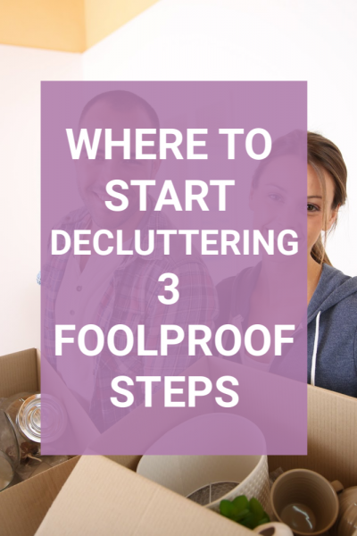 Tired of all the stuff in your home? What if I told you you can remove it all without being stressed out or overwhelmed? Knowing how to start decluttering can be the hardest part of letting go. This post will introduce you to my 3 simple and foolproof steps that will help you to clean out and clean up your home once and for all. #clutter #declutter #startdecluttering