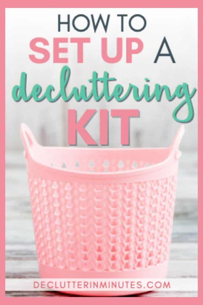 How to declutter without overwhelm. How to set up decluttering kit. The easy way to remove clutter from your home. A decluttering kit! A basket of my top organizing tools that you can grab whenever the urge to declutter hits. I even tucked inside a few of my super-secret clutter busting tools that will help you create a home you love. #declutteringtools #declutteringkit #clutter #declutterinminutes