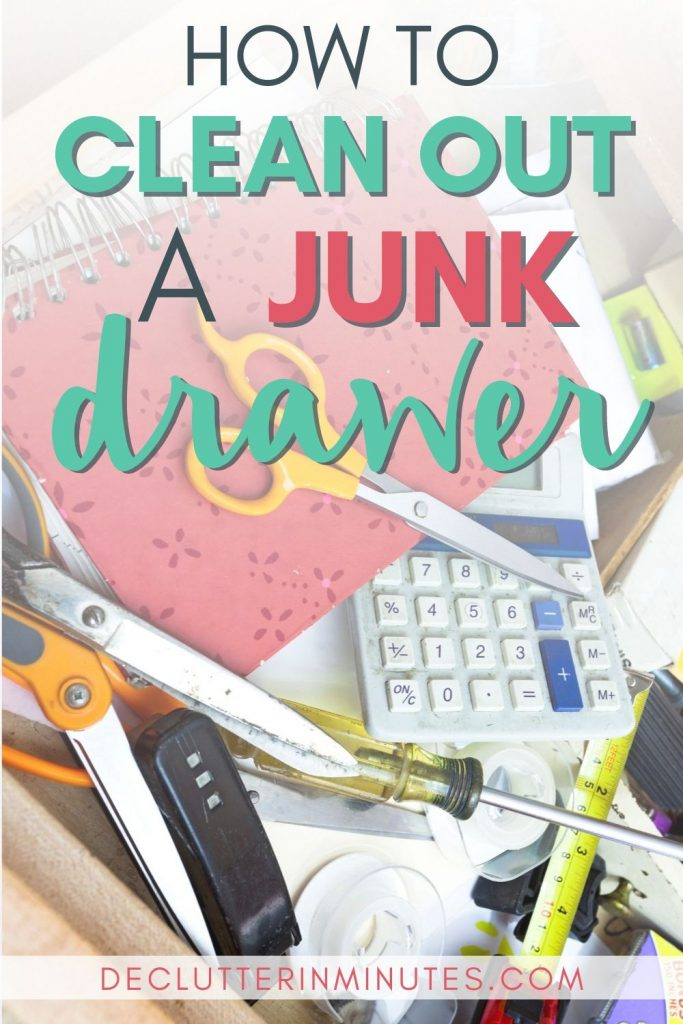 Don't get rid of your junk drawer, organize it! Learn how to clean out your junk drawer and set up a clutter-free system for your home. Organizing tips for an organized junk drawer and how to DIY organize. #junkdrawer #organizedjunkdrawer #clutterfree #declutterinminutes