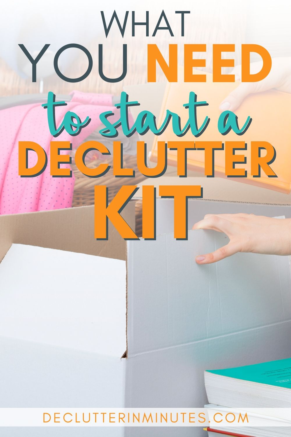 Want to know my secret for a clutter-free home? A decluttering kit! A basket of my top organizing tools that you can grab whenever the urge to declutter hits. I even tucked inside a few of my super-secret clutter busting tools that will help you create a home you love. #declutteringtools #declutteringkit #clutter #declutterinminutes