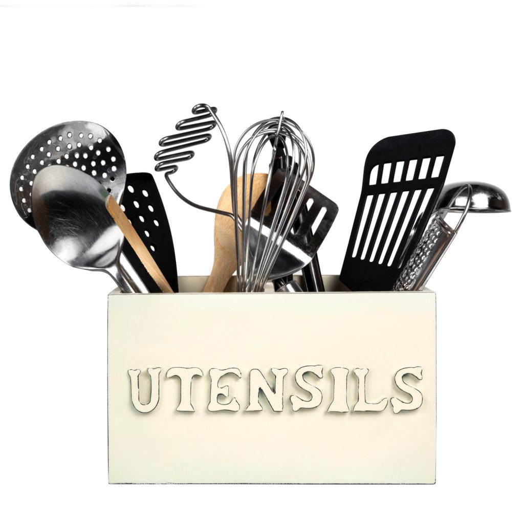 box of kitchen utensils as a way to organize a junk drawer