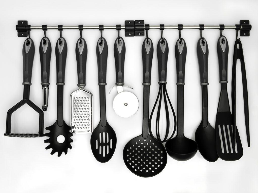 organized utensils in a kitchen