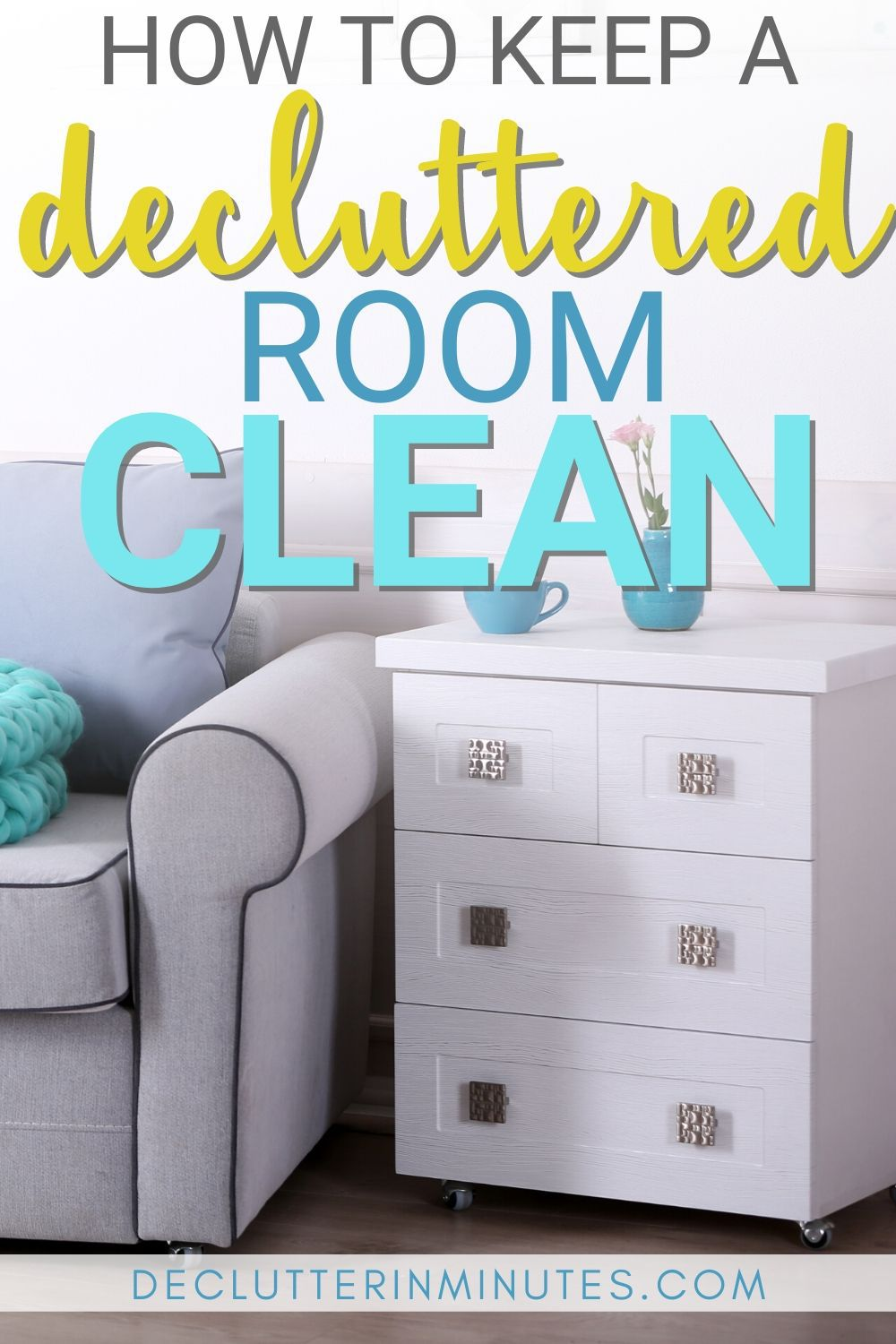 Want to know the best kept secret to a clutter-free and organized home? Try my room reset and finally learn a super simple way to keep your home free of clutter. #clutter #declutter #cleaningtips #organize #declutterinminutes