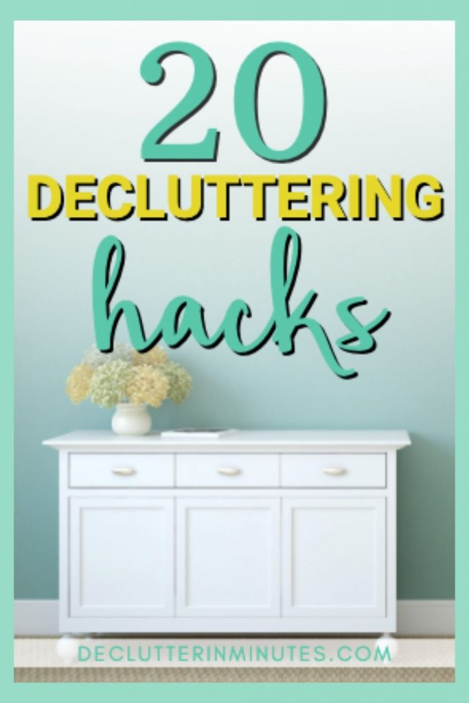 Simple clutter hacks that will help the messy person create a home they love. Home decluttering hacks that are meant for the messy and cluttered person will help you create an organized home you love. Remove the overwhelm of decluttering and use these tips to clean and organize each room in your home. #declutter #homedeclutteringtips #declutterinminutes