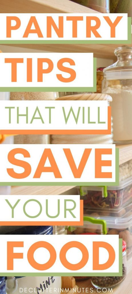 Save money on food with an organized pantry. How to set up your pantry. Top tips on organizing and decluttering your food pantry. Then you may want to check out my post on how to organize a pantry with wire shelves. DIY pantry organizer that are frugal tips and others that are money investments. Organize your food pantry today and save money on groceries. #pantryorganization #foodpantry #wireshelves #declutterinminutes