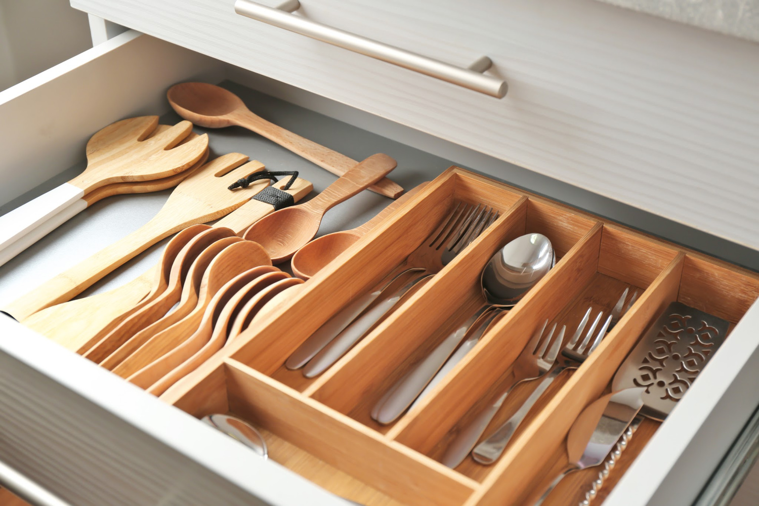 organized silverware drawer