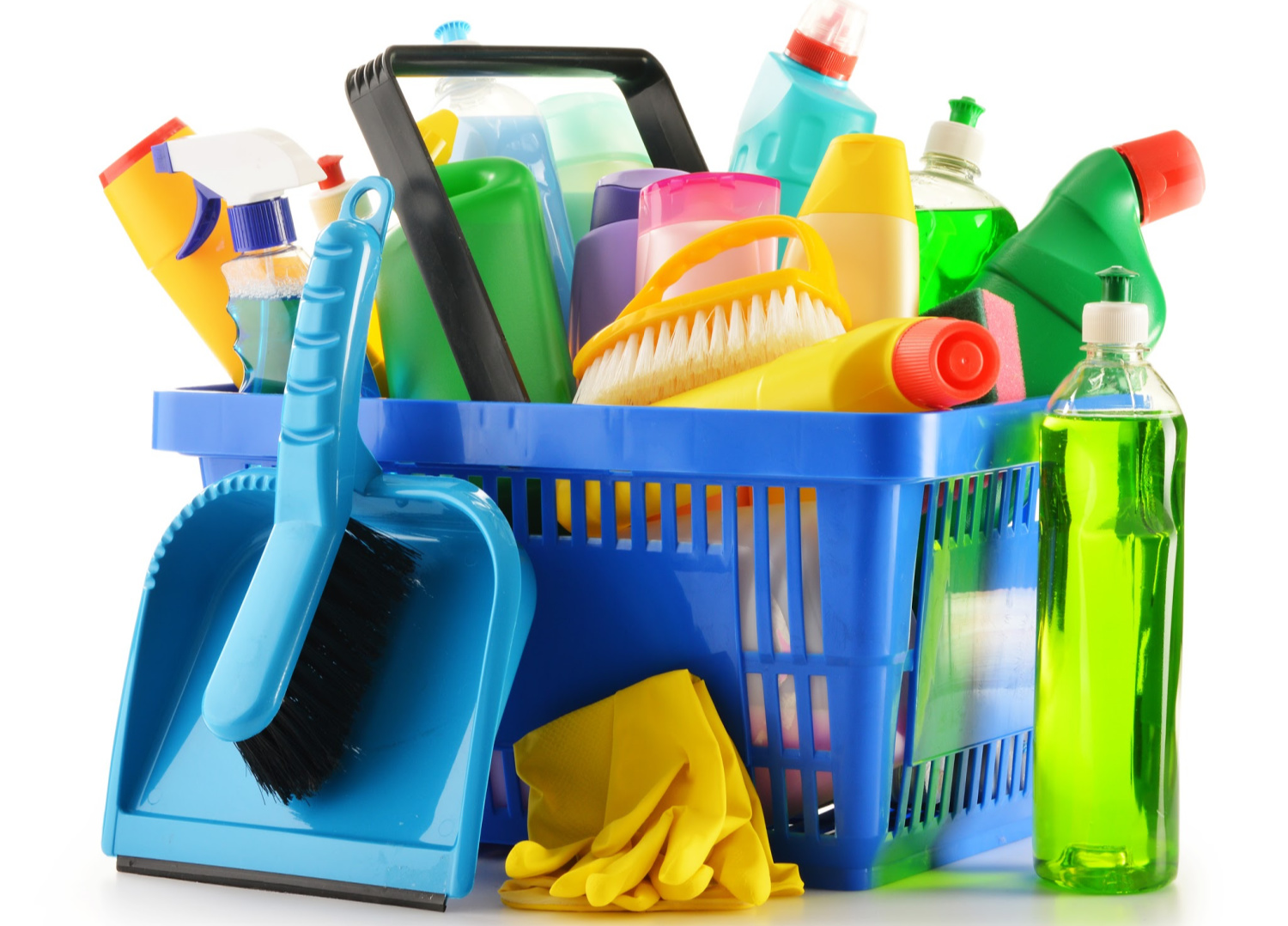 bin of cleaning supplies. Things to declutter your home checklist