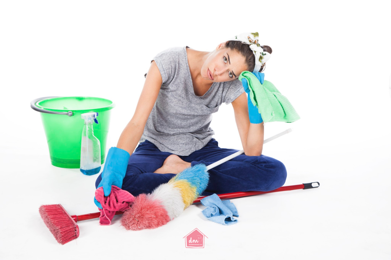 frustrated woman with cleaning her home
