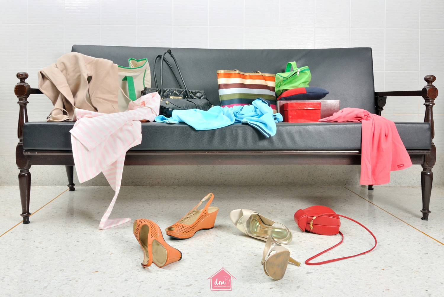 A messy couch. how to have a clutter-free home