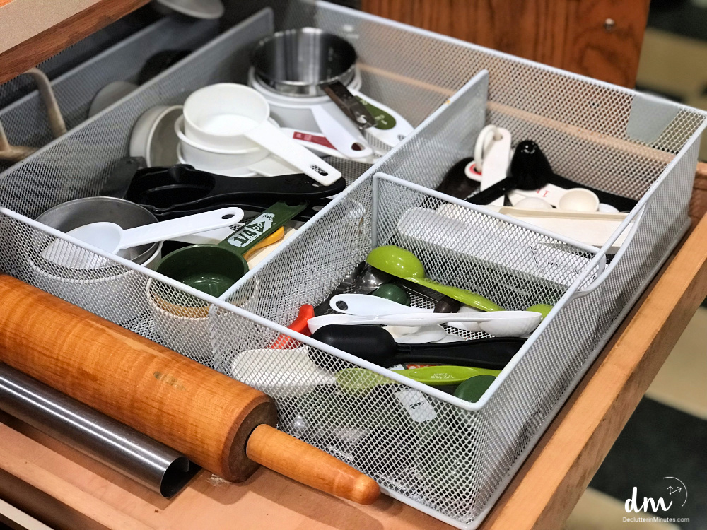 baking drawer how to organize with baskets