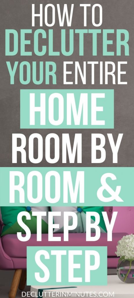 How to declutter your home. How to declutter without overwhelm. Step by step decluttering plan. Declutter your home checklist. How to clean out your home remove the clutter and organize your home. The easy way to organize your home room by room. #declutteryourhome #declutter #organize #declutterinminutes