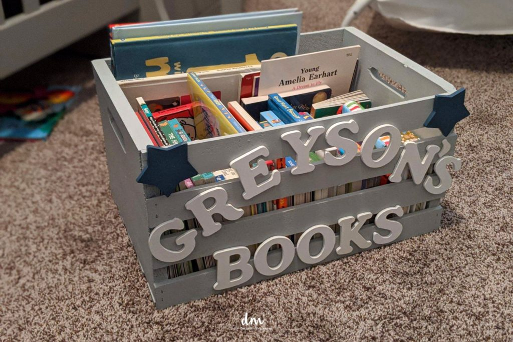 toy box organized with baskets