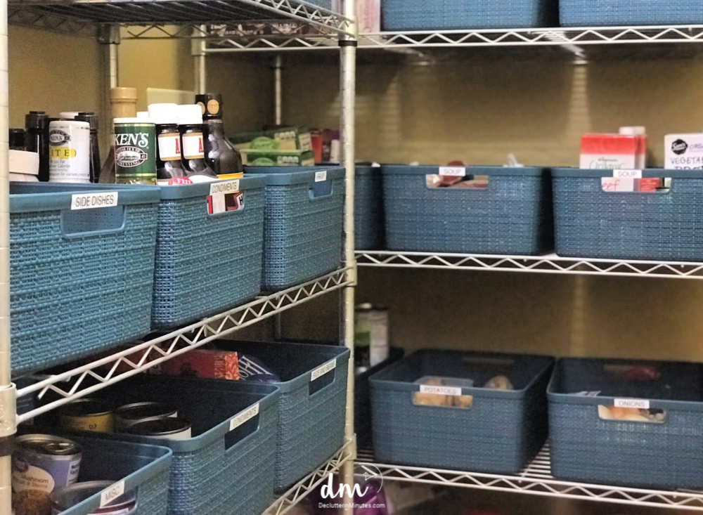 pantry how to organize with baskets