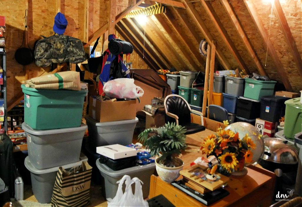 messy cluttered attic