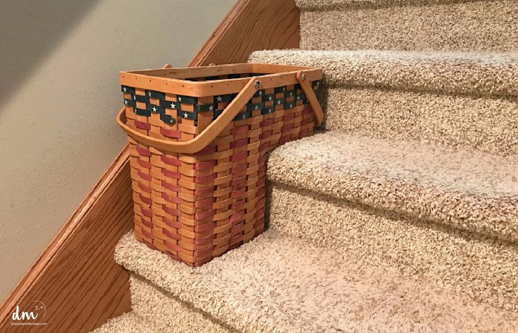 basket on the stairs