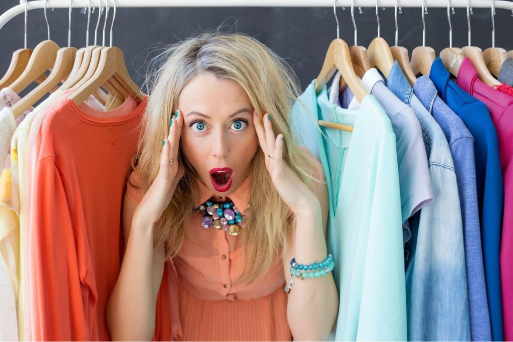 woman upset by the clothes in her closet