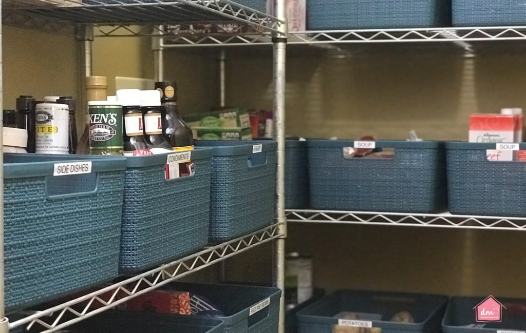 bins in a pantry to organize food