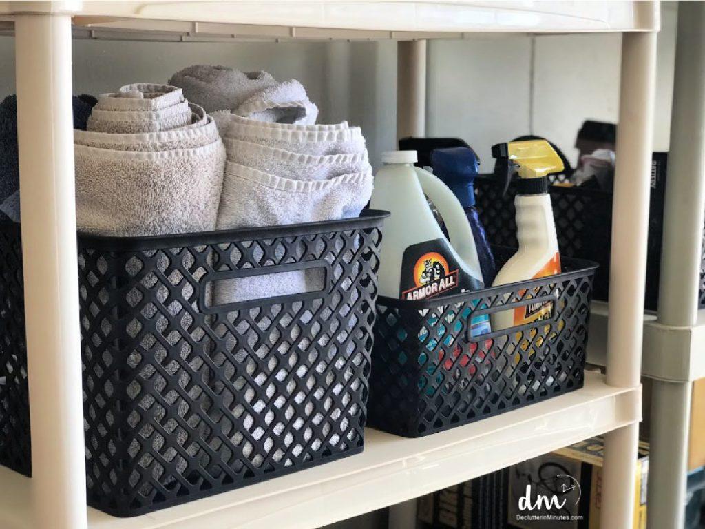 a basket of car wash supplies in a garage