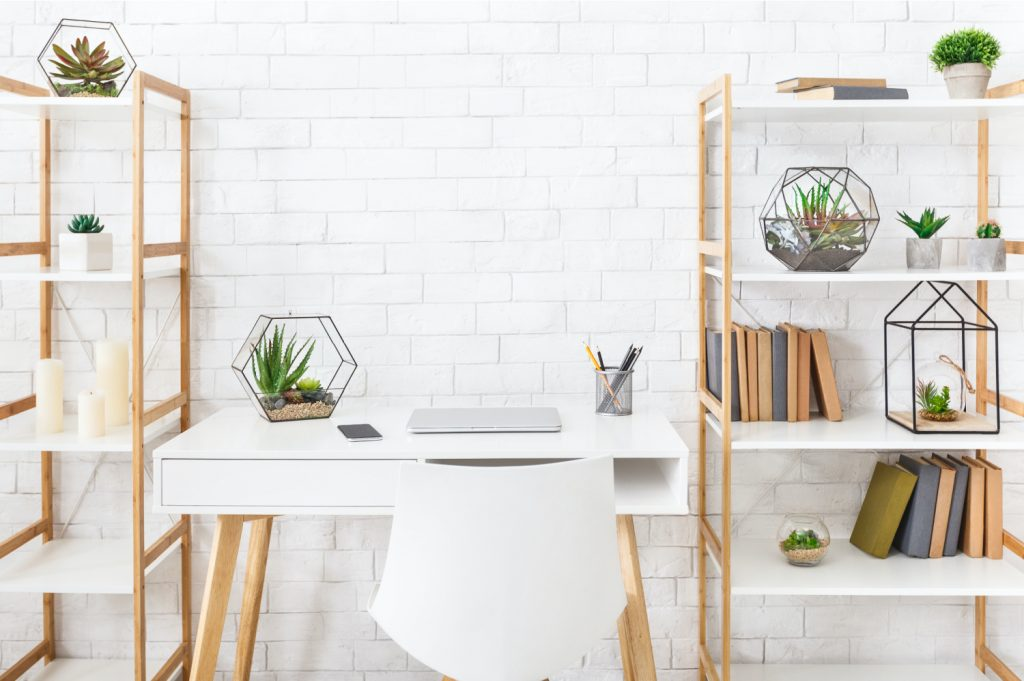 a garage office desk chair and shelving