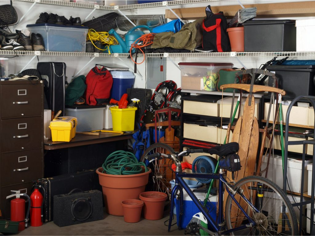 a messy garage that needs decluttering