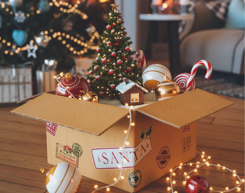 box of holiday decorations-2