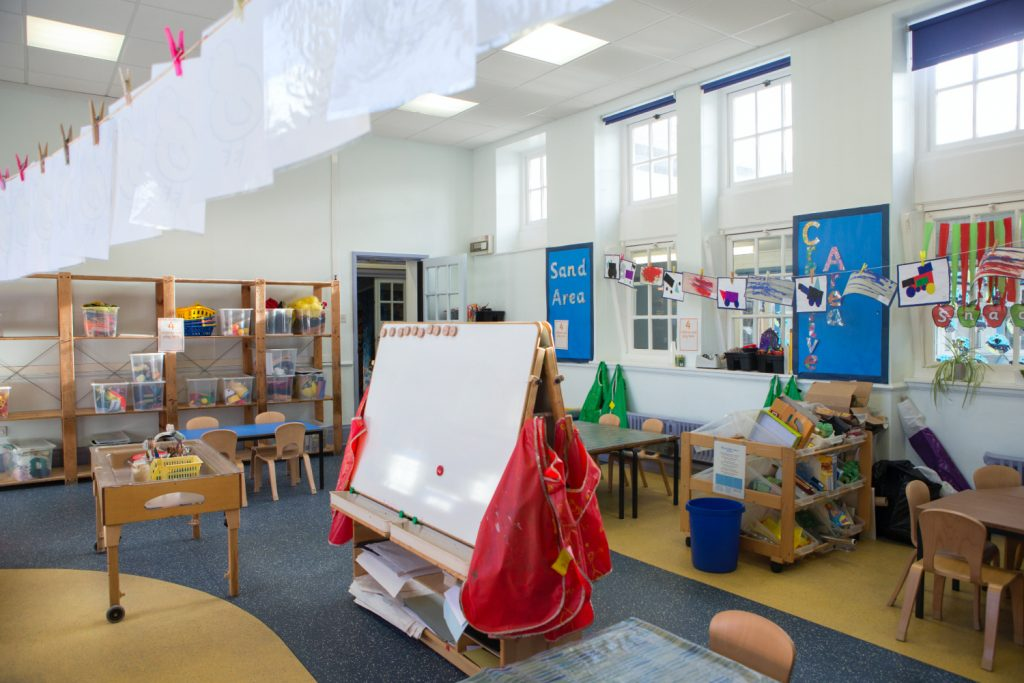 a preschool classroom set up with an easel in front.